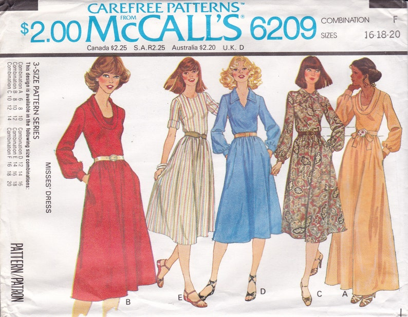 Vintage Sewing Pattern McCall's 6209 Dress Day Evening image 0