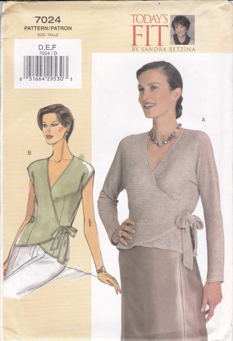 Vogue 7024  Sewing Pattern Today's Fit Sandra Betzina Wrap image 0