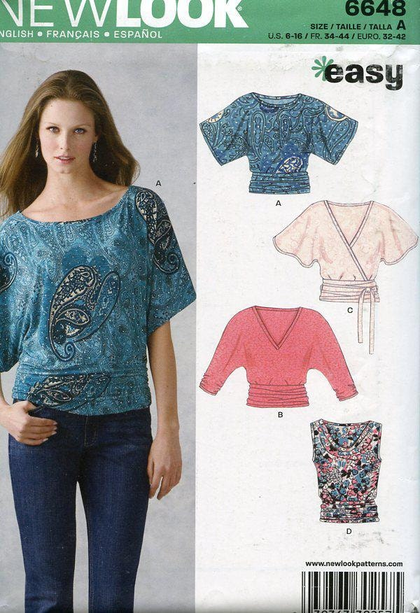 Free Us Ship New Look 6648 Easy Fun Tops Size 616 Dolman Sleeve Out