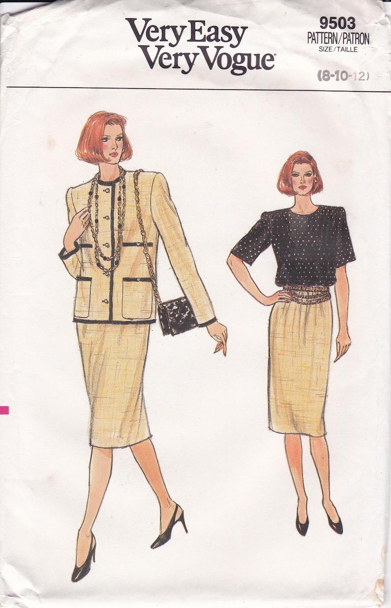 Sewing Pattern Vogue 9503 Vintage Retro 1980s 80s Suit Jacket image 0