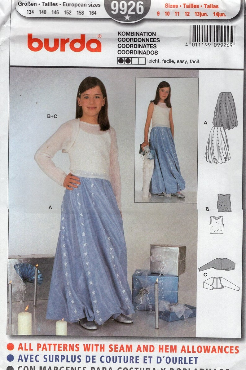 Sewing Pattern Burda 9926  Free Us Ship Uncut Girls evening image 0