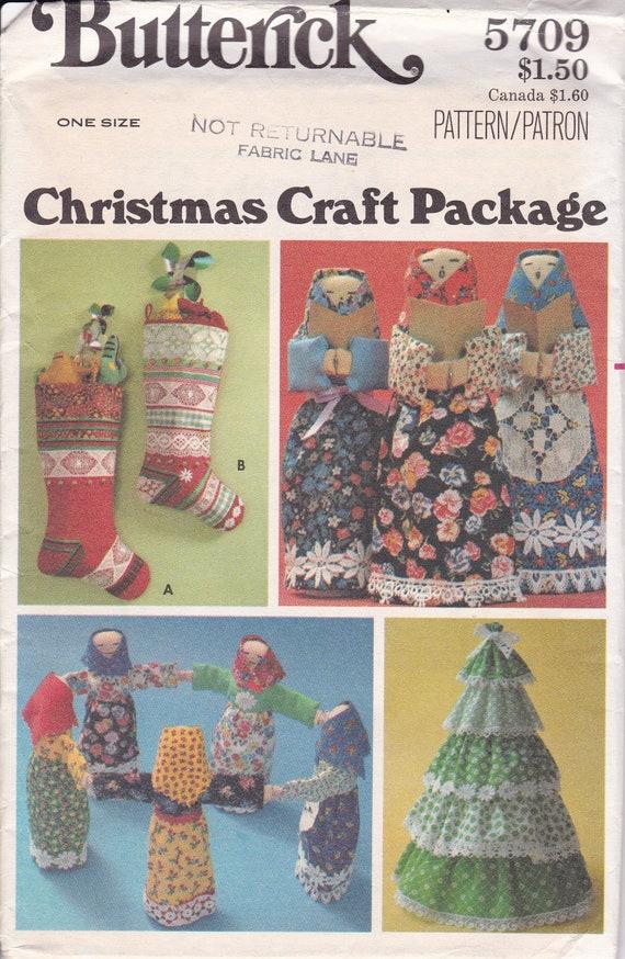 FREE US SHIP Butterick 5709 Bohemian Boho Gypsy Dolls Carolers Christmas  1970's Vintage Craft Sewing Pattern Uncut Vintage Retro 1970s 70s