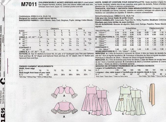 McCall\'s 7011 Free Us Ship Ruffles Lace Girl\'s Dress Bolero Jacket ...