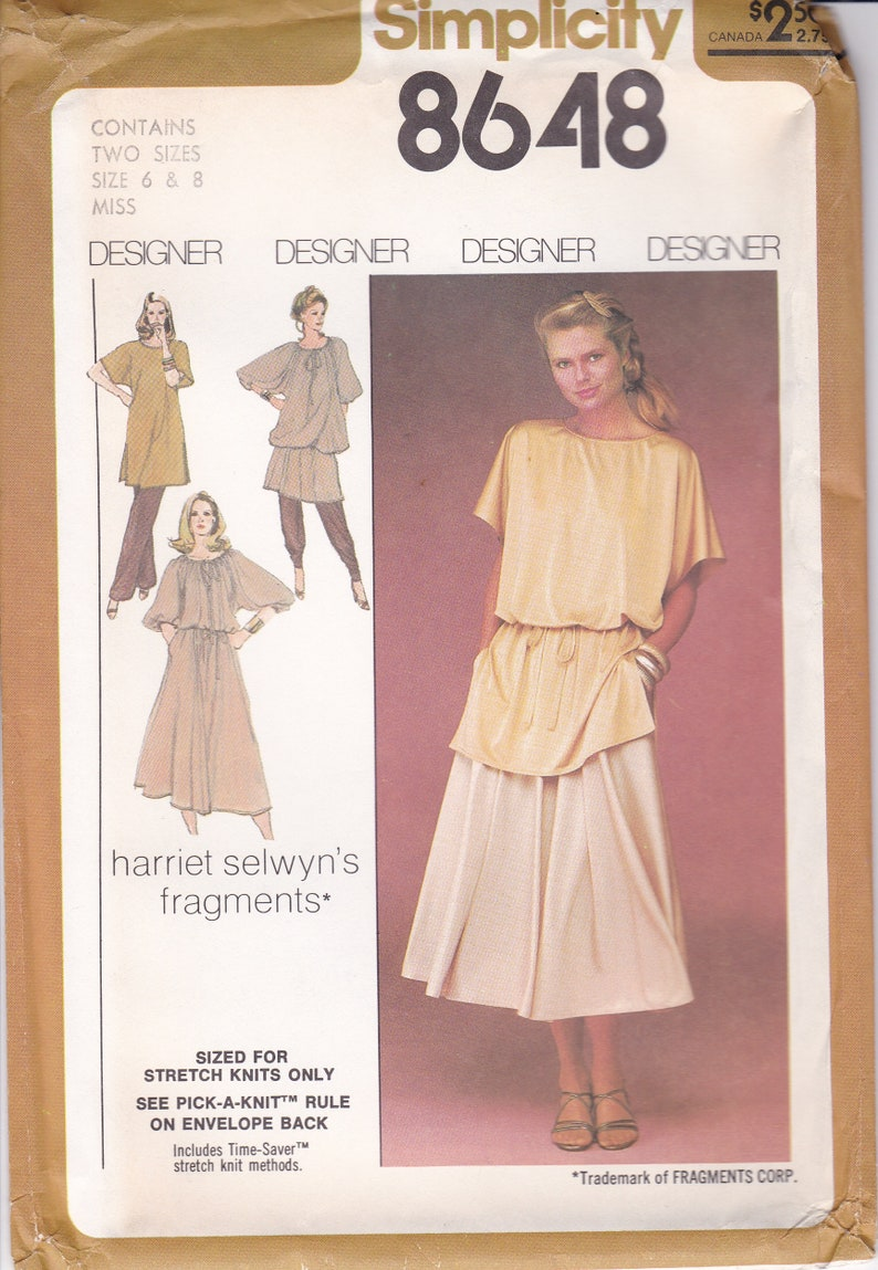 Vintage Sewing Pattern for Womans Loose Fitting Tunic Harem image 0