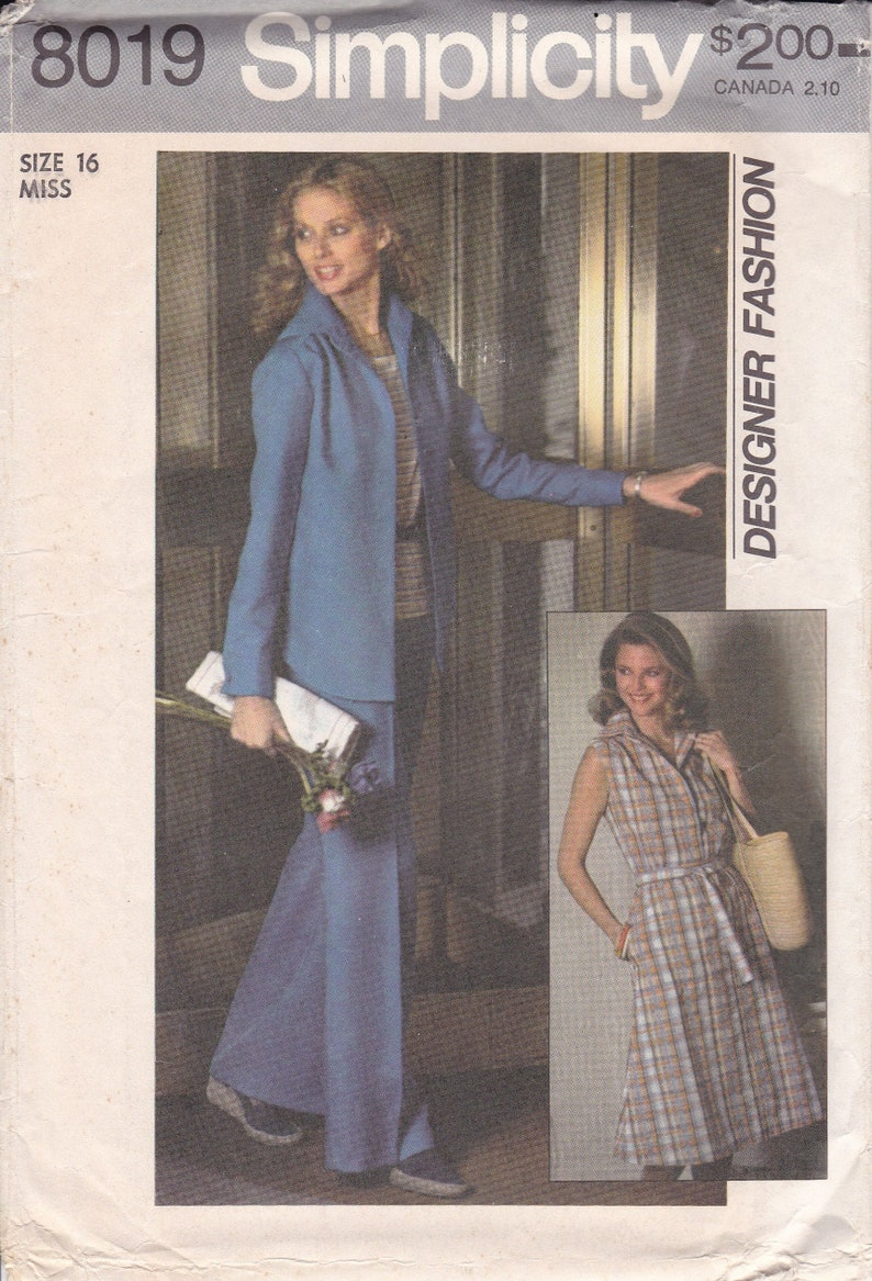 Vintage Sewing Pattern Simplicity 8019 Retro 1970's image 0