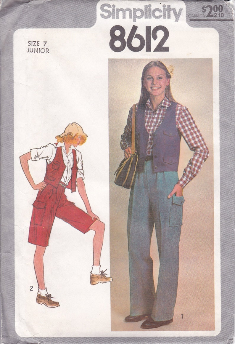 Vintage Sewing Pattern for Womans Juniors Cargo Pants Shorts image 0
