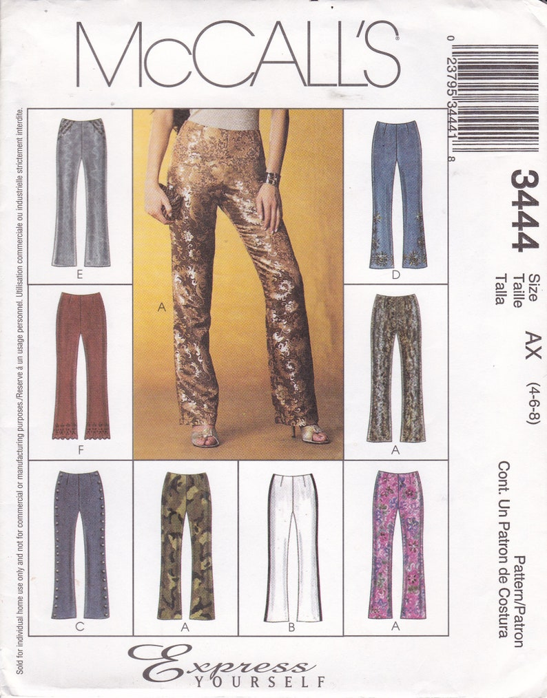 Sewing Pattern McCall's 3444 Low rise bellbottom Fitted image 0