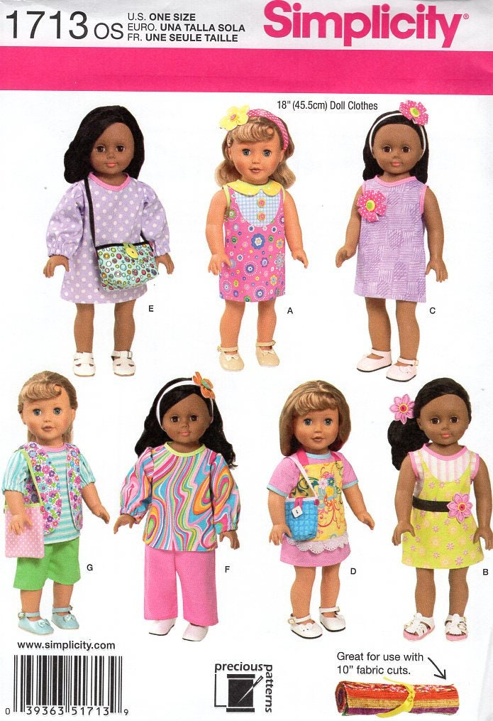 Free Us Ship Simplicity 1713 Out Of Print 18 Doll Clothes Wardrobe