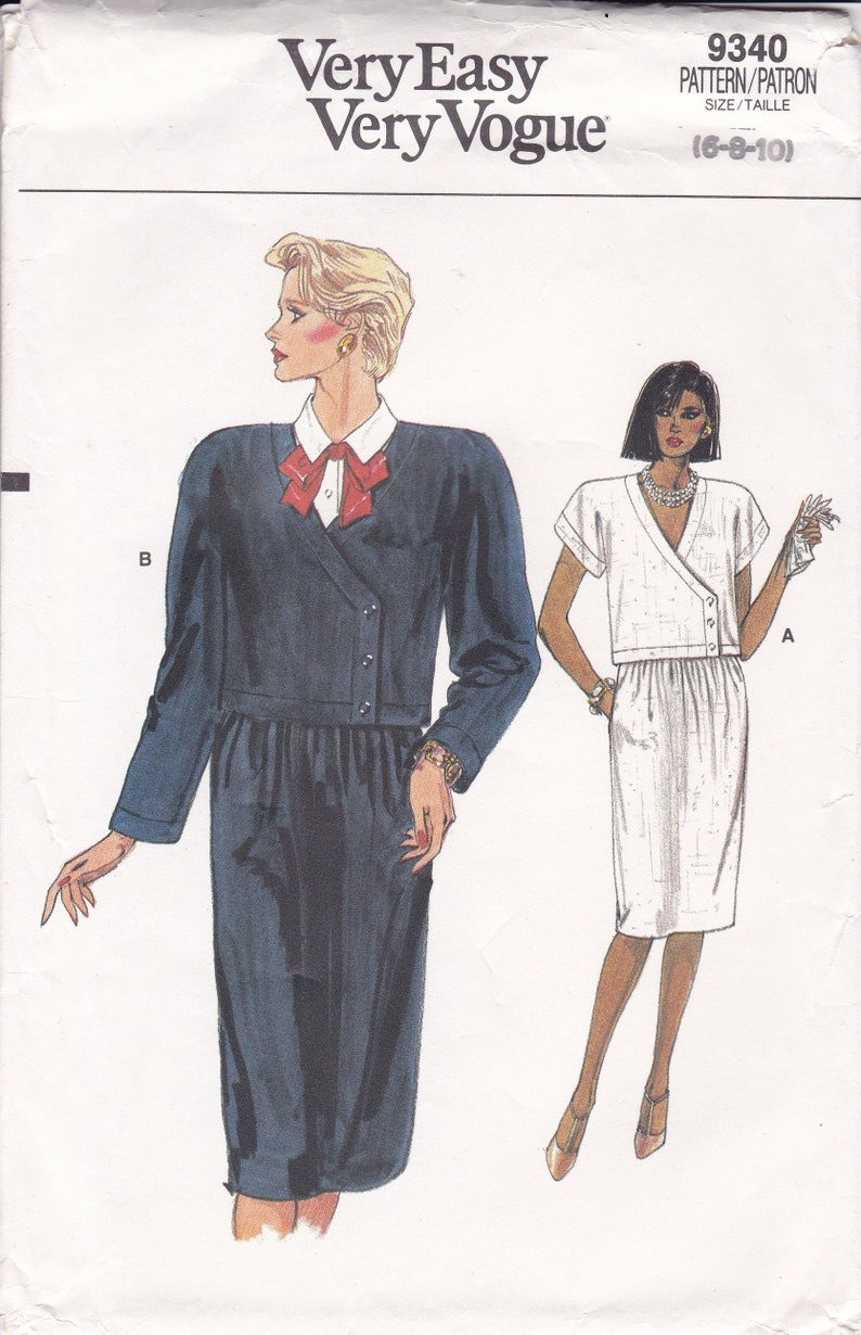 Sewing Pattern Vogue 9340 Vintage Retro 1980s 80s Wide image 0