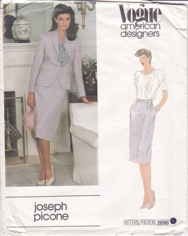 Vintage Sewing Pattern Vogue 2696 Retro 1980s 80s Designer image 0