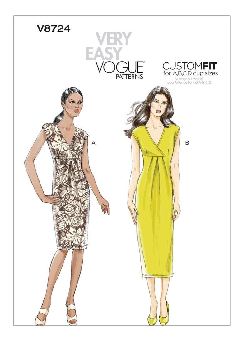 Sewing Pattern Vogue 8724 Custom Fit Empire Dress Size 6/14 image 0