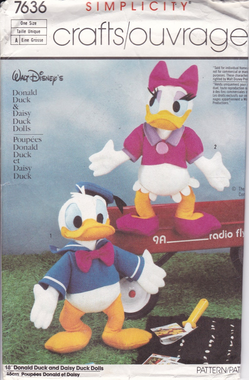 Sewing Pattern Simplicity 7636 Crafts Doll Donald Daisy Duck image 0