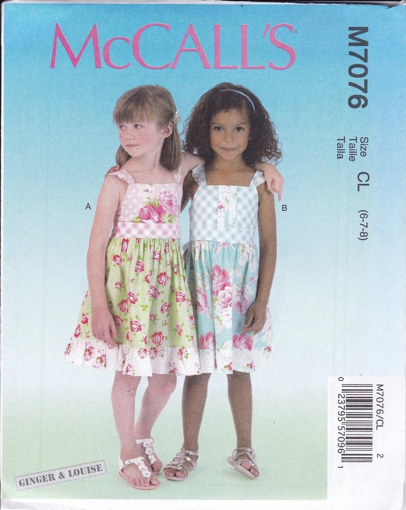 Sewing Pattern McCalls 7076 Girl's Dress Summer Ginger & image 0