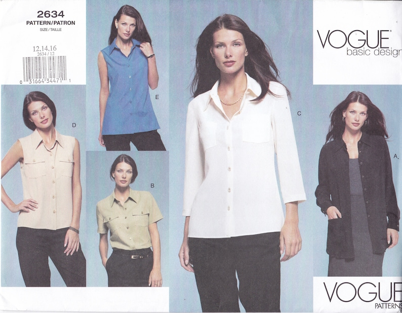 Vogue Women's Sewing Pattern 2634 Large Envelope Blouse image 0