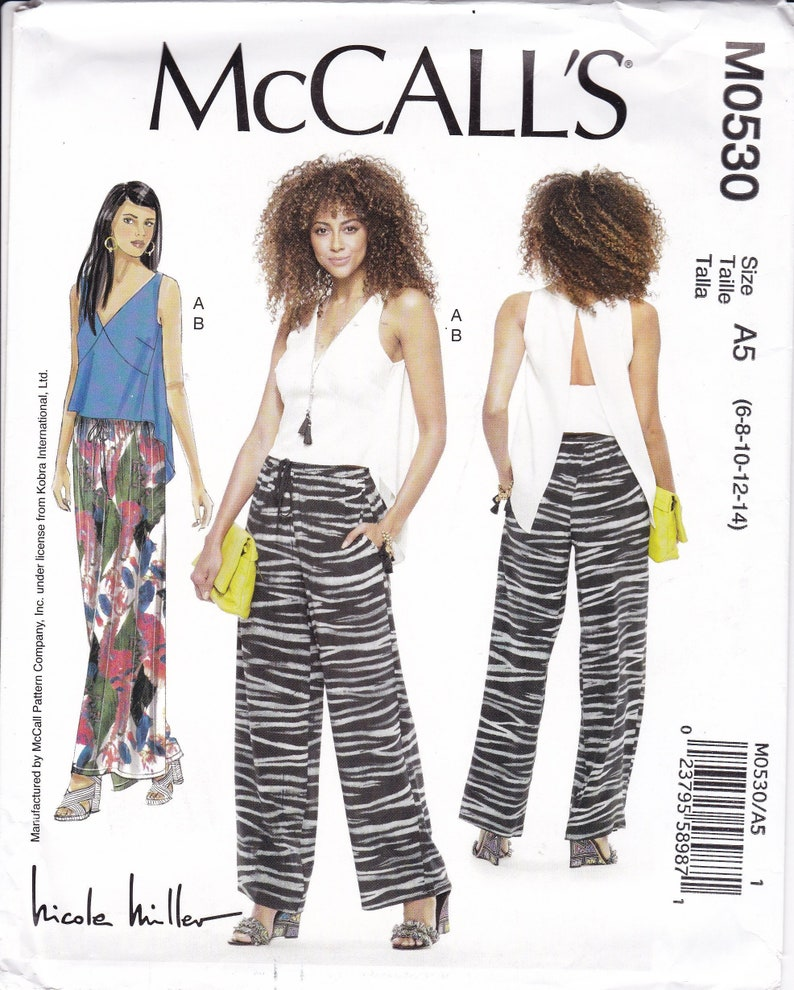 Sewing Pattern McCalls 0530 7605 Nicole Miller Open Back image 0