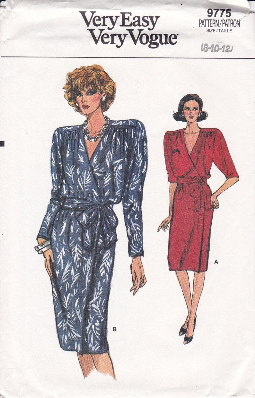 Sewing Pattern Vogue 9775 Retro 1980s 80s Wide Shoulder Dress image 0