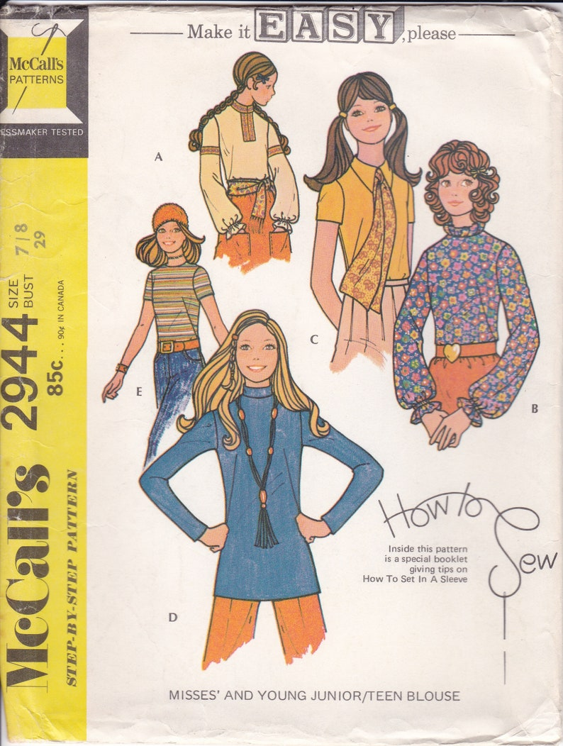 Vintage Sewing Pattern McCalls 2944 Boho Teen Blouse Tops Easy image 0
