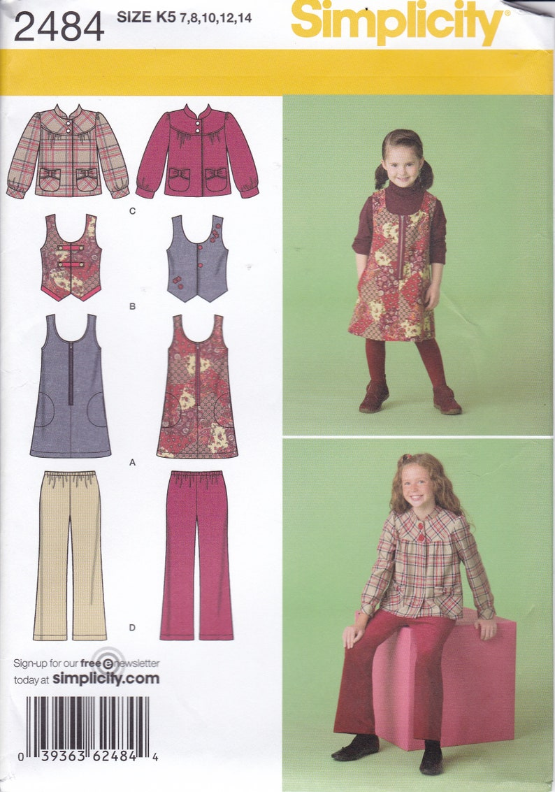 Sewing Pattern Simplicity 2484 Uncut Girls Top Pants Jumper image 0