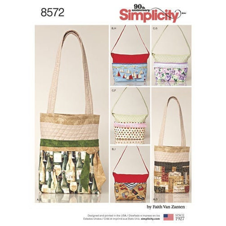 Simplicity Pattern 8572 Trendy Fabric Handbag Sewing Pattern image 0