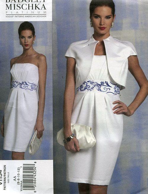 FREE US SHIP Vogue 1154 Badgley Mischka Sewing Pattern Strapless ...