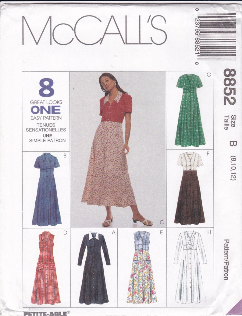 Sewing Pattern McCalls 8852  Princess Seams Empire Dress Size image 0