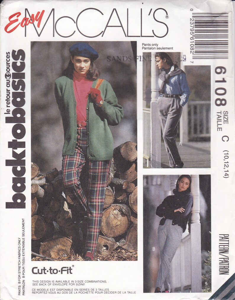 Sewing Pattern McCall's 6108  1990's 90's  pants image 0