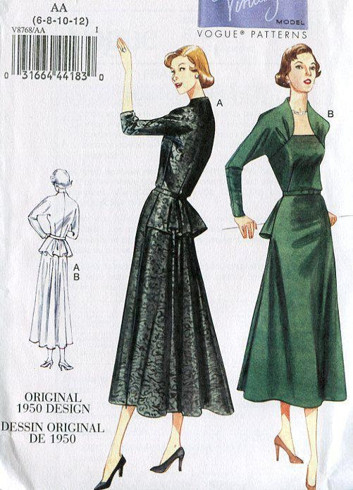 Vogue FREE US SHIP 8768 Vintage Retro 1950\'s Sewing Pattern Peplum ...