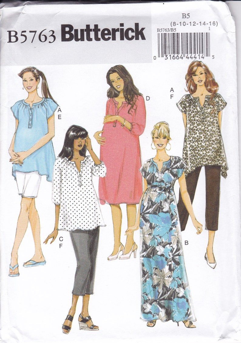 Sewing Pattern Butterick 5763 Maternity Top Pants Separates image 0