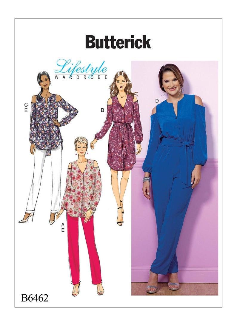 Sewing Pattern Butterick 6462 Cold Shoulder Jumpsuit Dress image 0