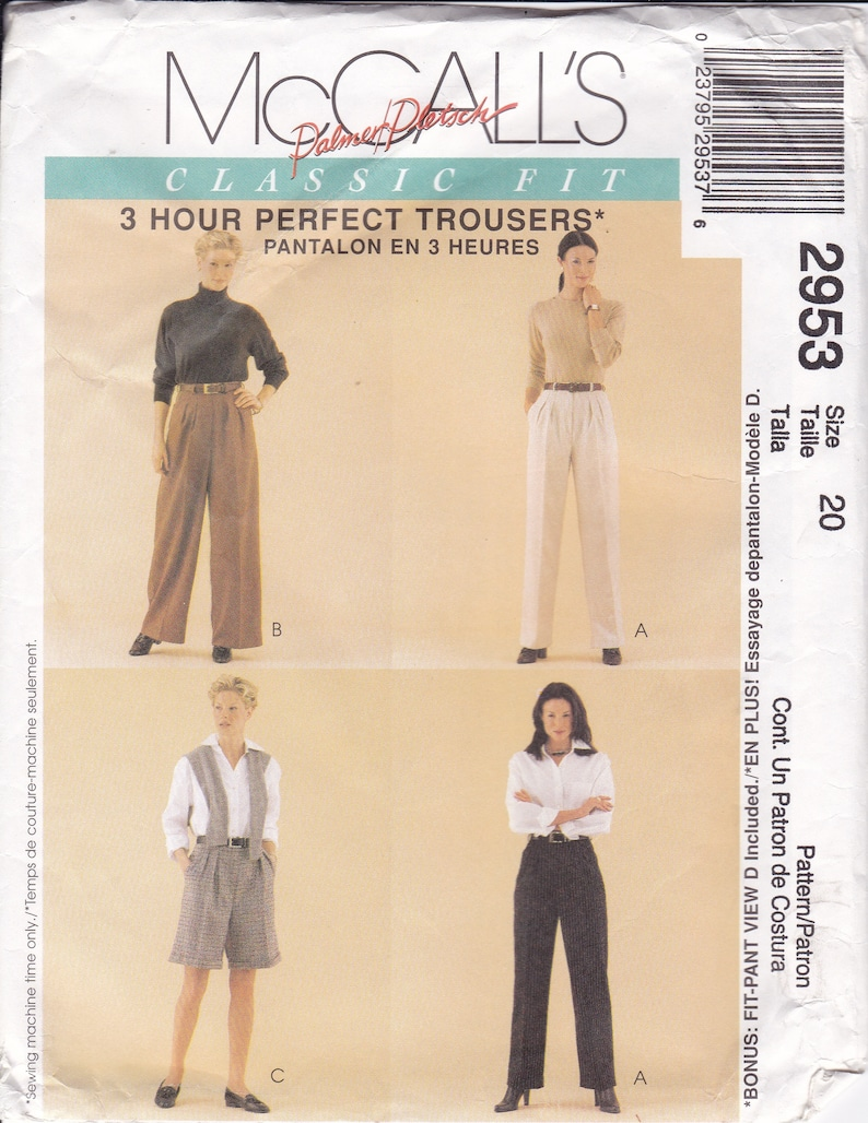 Sewing Pattern McCalls 2953   Palmer & Pletsch Classic Fit image 0