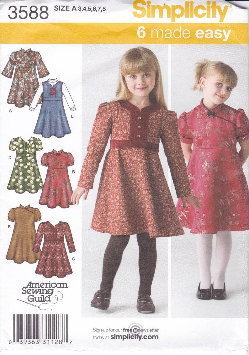 Sewing Pattern Simplicity 3588  Girls High Waist Flared Dress image 0