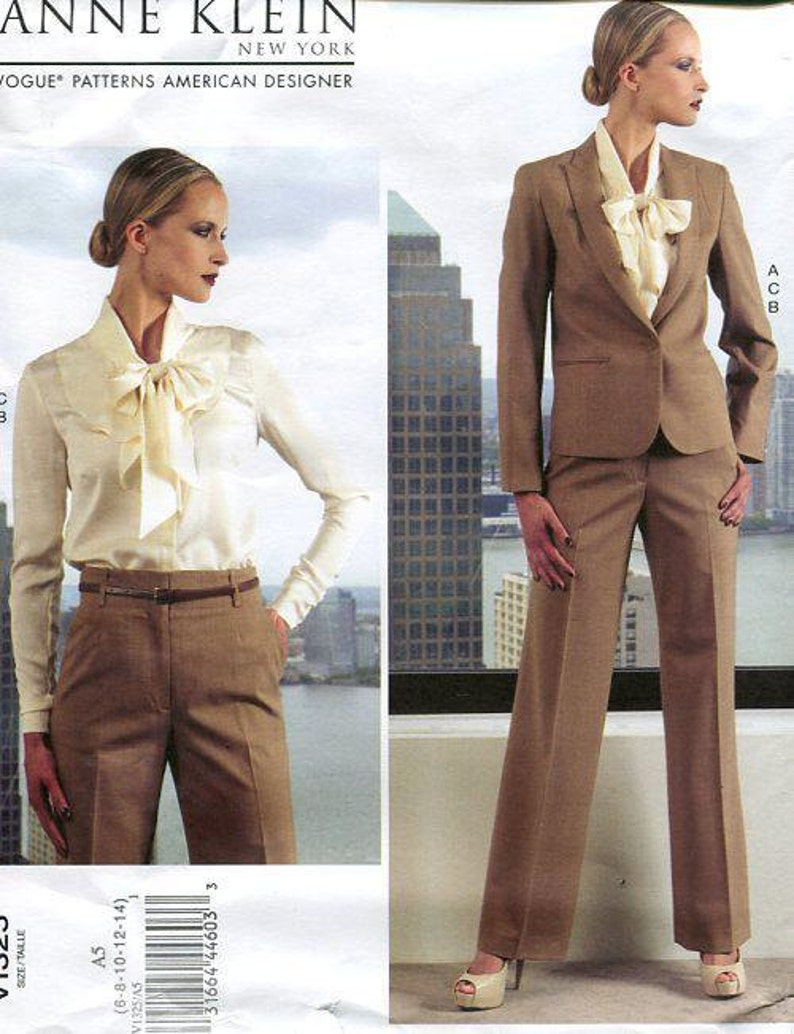 FREE US SHIP Vogue 1325 Sewing Pattern Anne Klein Bow Blouse image 0