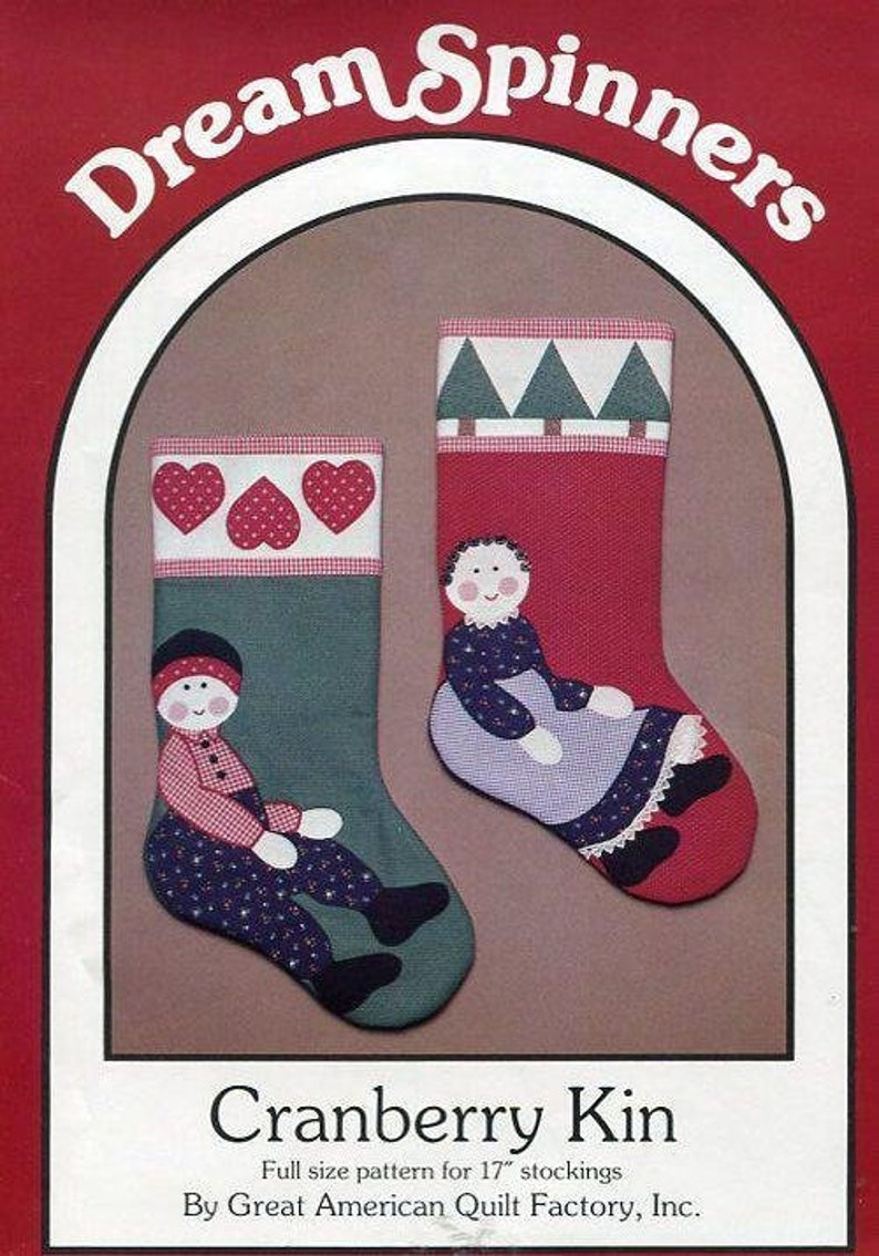 Sewing Pattern Dream Spinners Cranberry Kin Folk Art Stockings image 0
