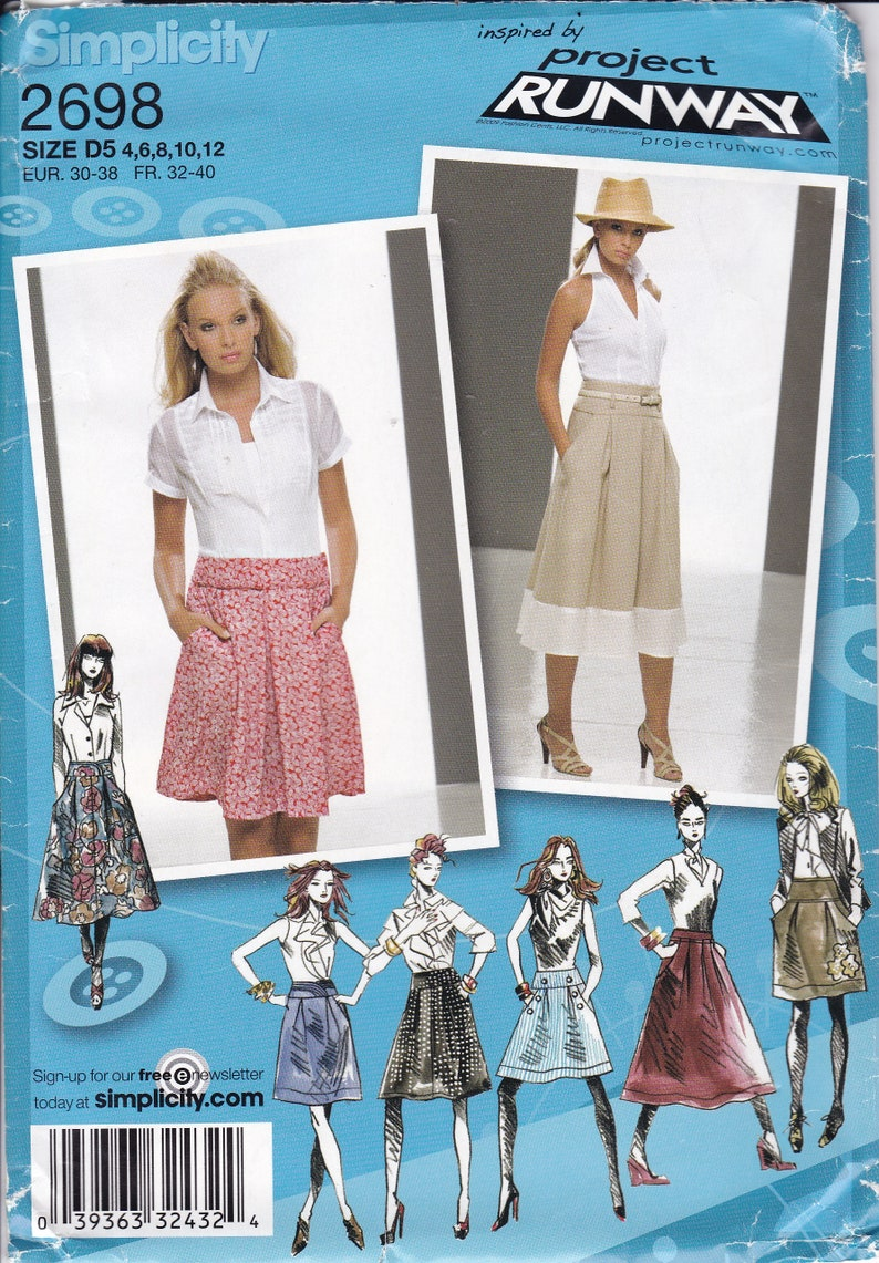 Sewing Pattern Simplicity 2698 Project Runway Skirt Band waist image 0