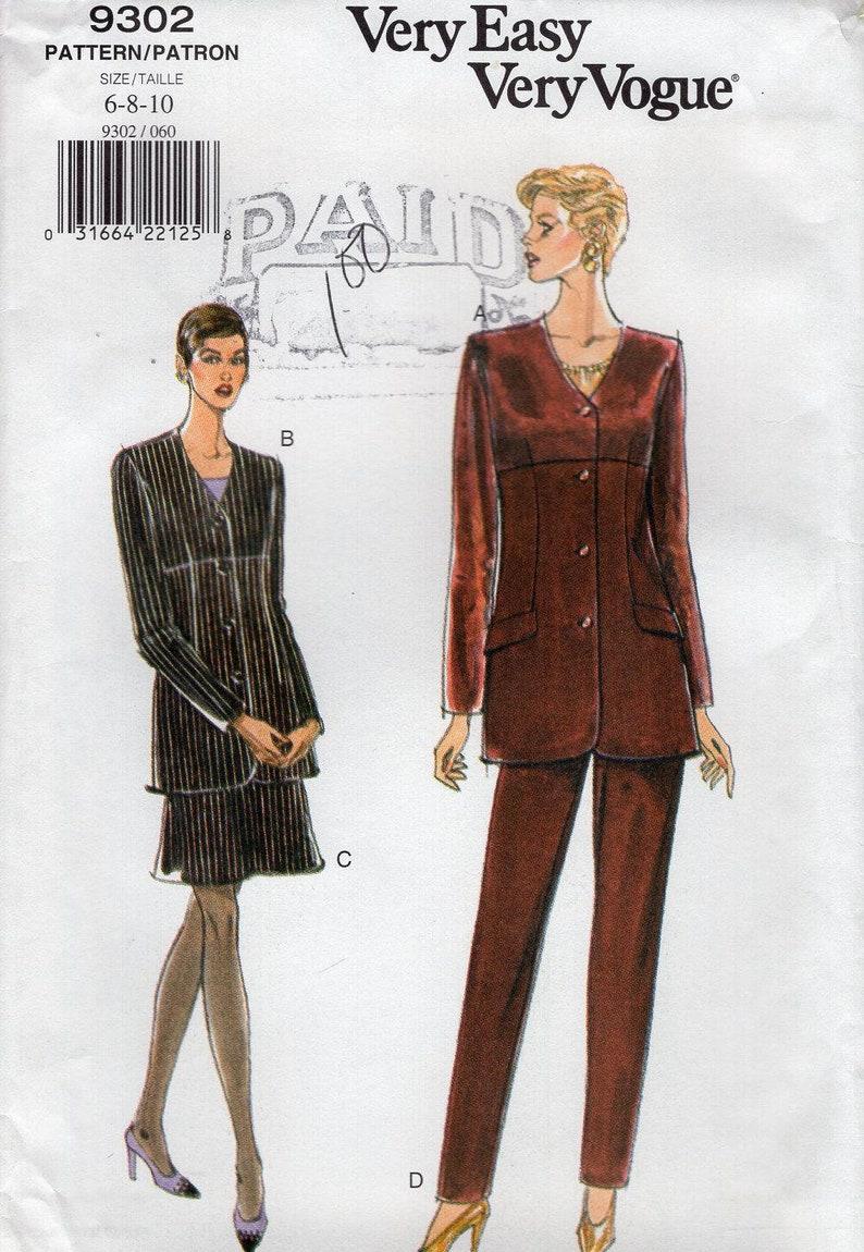 Sewing Pattern Free Us Ship Vogue 9302 Pantsuit Pants  Suit image 0