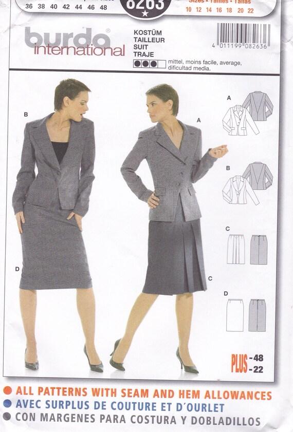 FREE US SHIP Burda 8263 Sewing Pattern Suit Jacket Skirt | Etsy