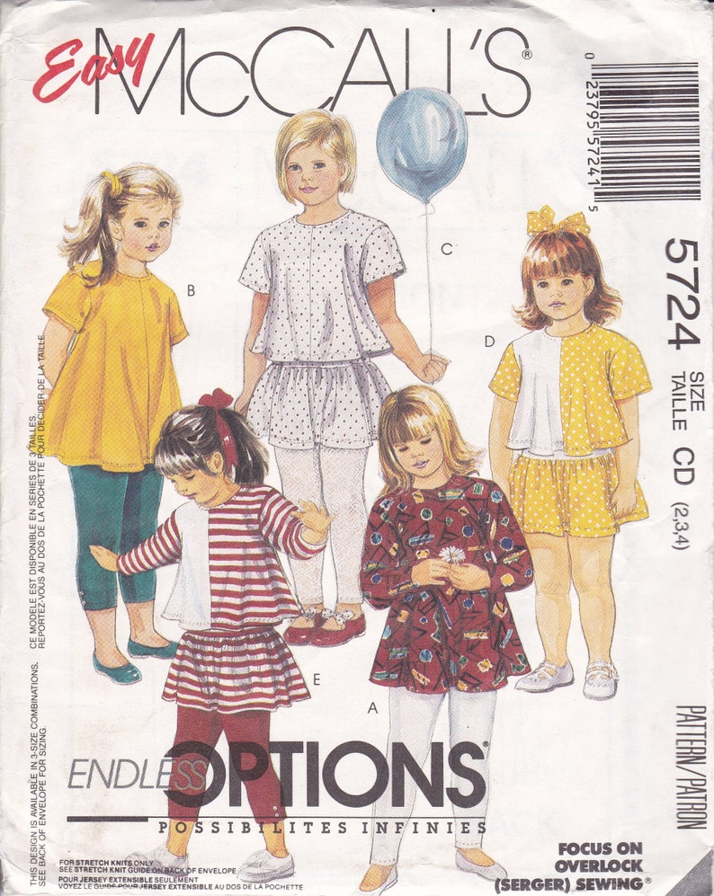 Sewing Pattern McCalls 5724 Vintage Retro 1990s 90s Girls image 0