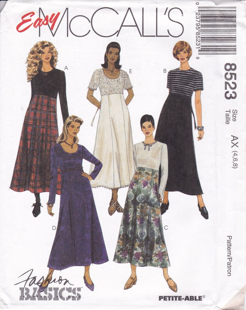 Vintage Sewing Pattern  McCalls 8523  Loose Fitting Empire 8 image 0