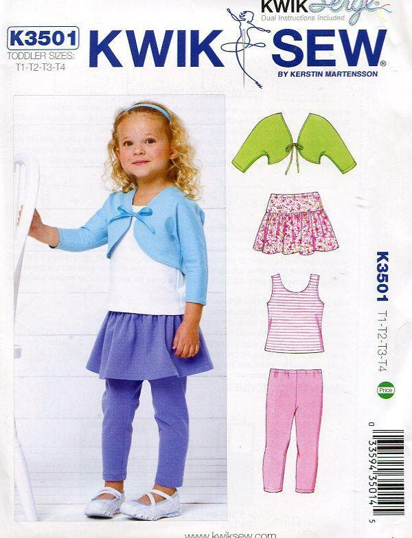 Free Us Ship Sewing Pattern Kwik Sew 3501 Toddler Girls Size 1 2 3 4