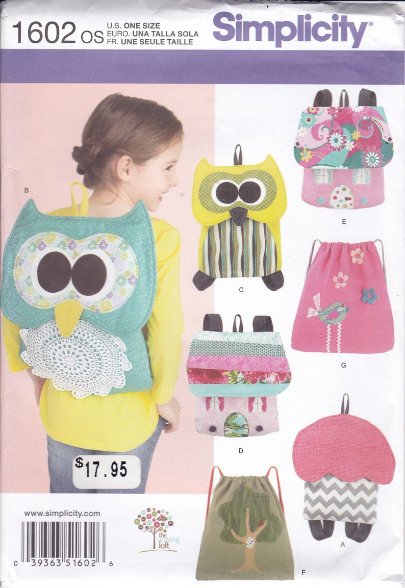 Sewing Pattern Simplicity 1602 Childs School BackPack Boy Girl image 0