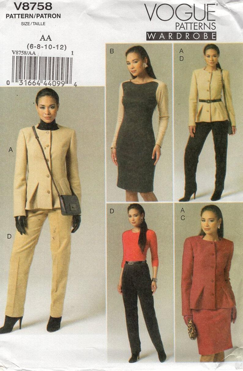 Sewing Pattern Vogue 8758 Free Us Ship Wardrobe Suit Jacket image 0