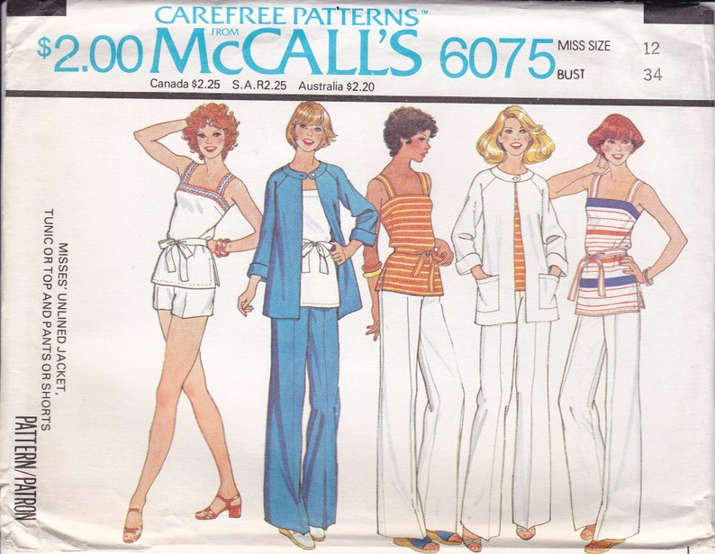 Vintage Sewing Pattern McCall's 6075 Retro 1970s Separates image 0