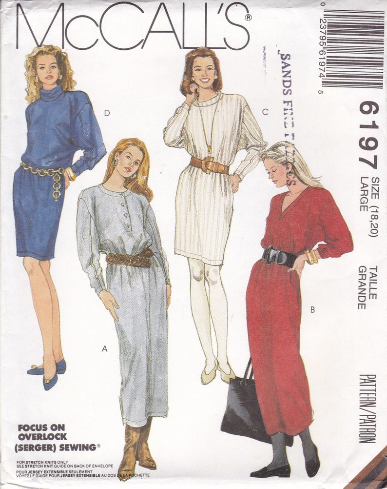 Vintage New Sewing Pattern McCalls Drop Shoulder Dolman Wedge image 0