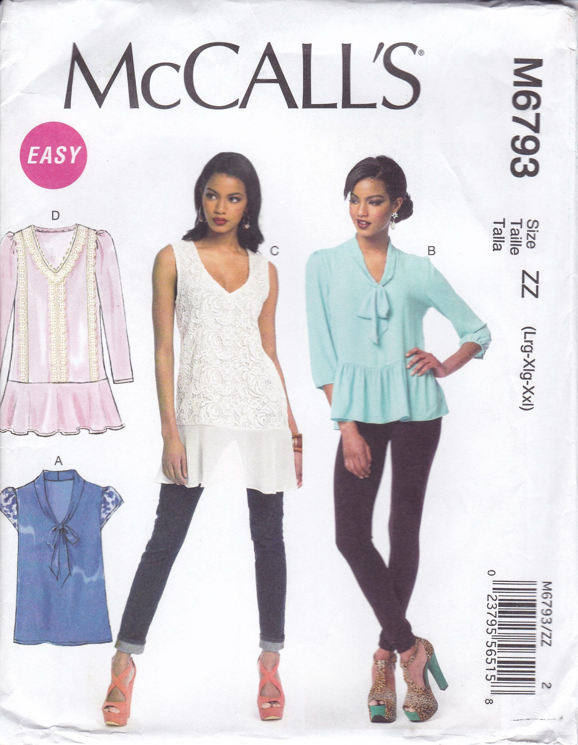 FREE US SHIP McCall\'s 6973 Sewing Pattern Easy Blouse Flounce Tie ...