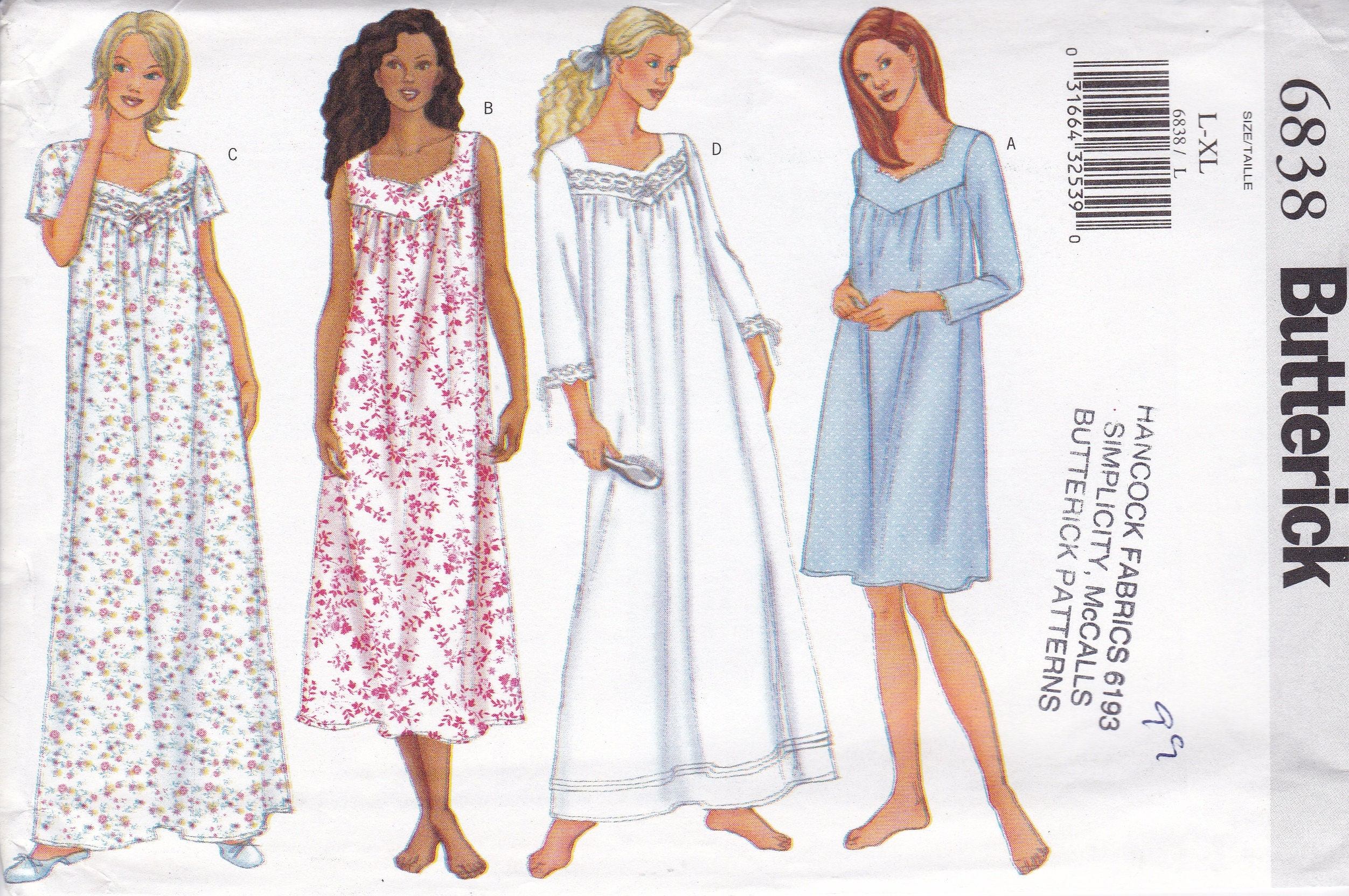 FREE US SHIP Butterick 6838 Babydoll Nightgown Sleepwear Granny Gown ...