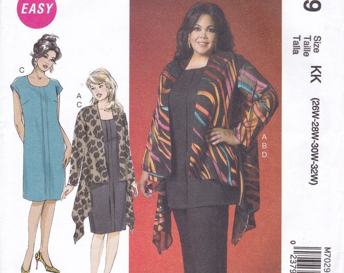 FREE US SHIP McCall's 7029 Kaliah Ali Waterfall Jacket Dress Out of Print Size 26 28 30 32 Plus Size Bust 48 50 52 54 Factory Folded