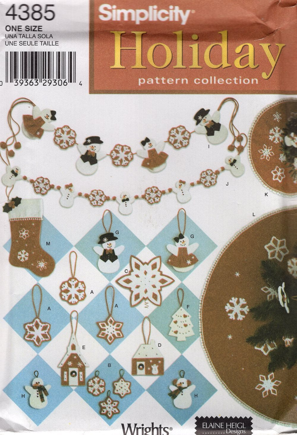 Simplicity 4385 Free Us Ship Craft Sewing Pattern Christmas Snowman ...