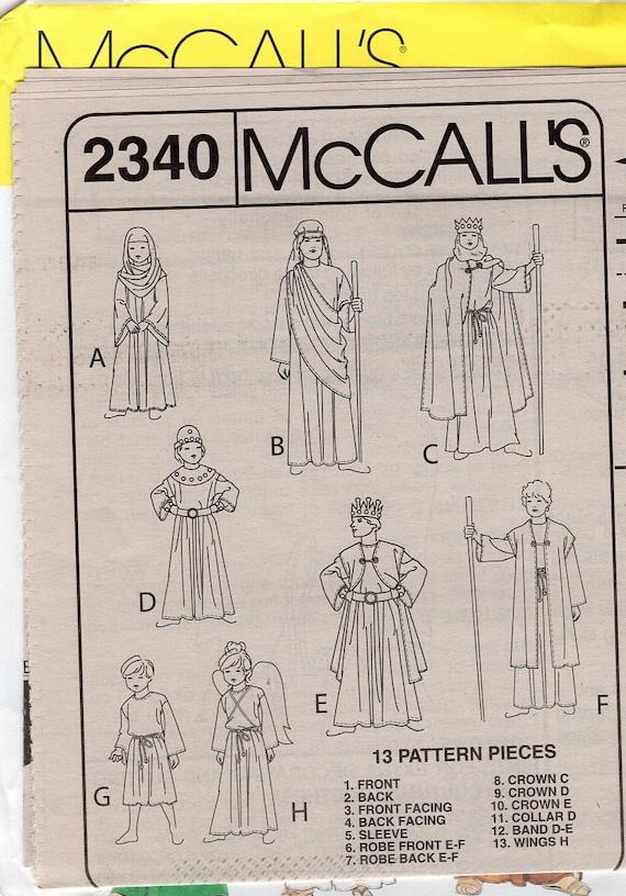 6-8 12-14  # 2340 MCCALL/'S PATTERN NATIVITY SCENE COSTUME 6 CHARACTERS 4-6