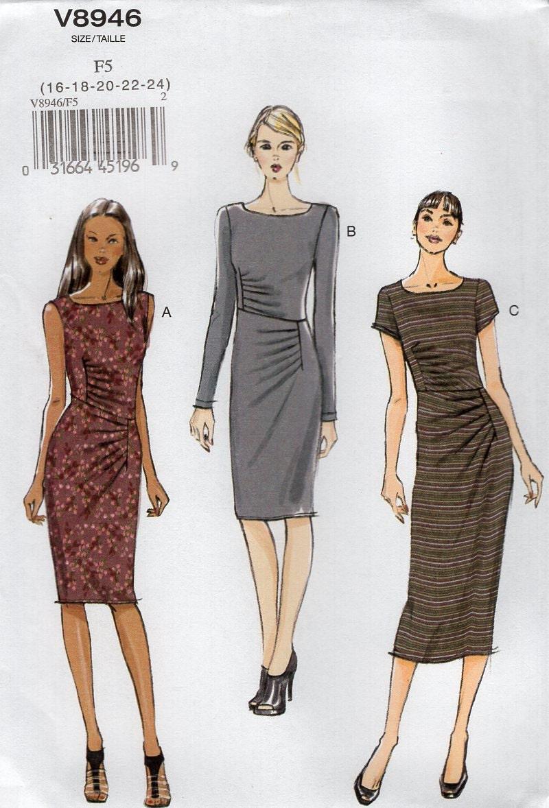 Vogue 8946 Free Us Ship Sewing Pattern Draped Dress Size 16/24 Bust ...