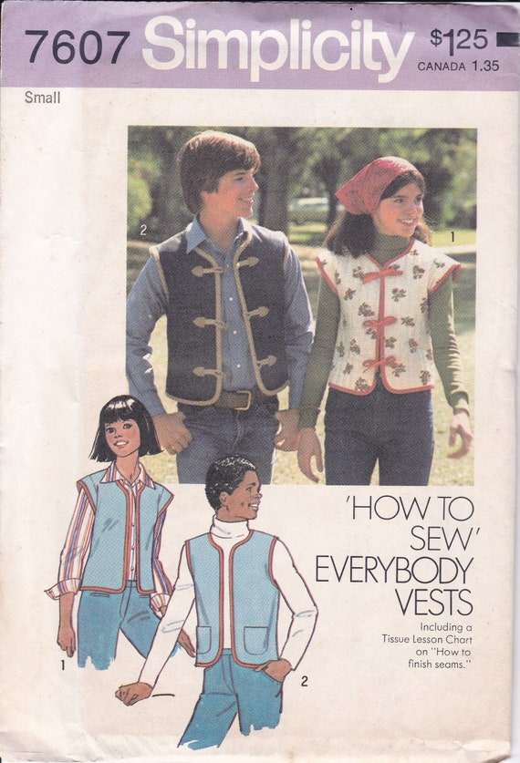 FREE US SHIP Simplicity 7607 Vintage Retro 1970's 70's Sewing Pattern  Bohemian Tie Vest His Hers Men 32 34 Factory Folded Small